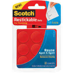 Scotch® Restickable Mounting Dots, Clear Circles, Pack Of 18
