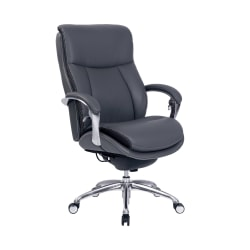 Serta® iComfort i5000 Big And Tall Bonded Leather Executive Chair, Slate/Silver