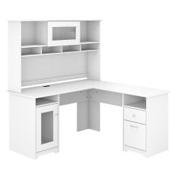 "Bush Furniture Cabot L-Shaped Desk With Hutch, 60""W, White, Standard Delivery"