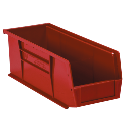 """Office Depot® Brand Plastic Stack & Hang Bin Boxes, Small Size, 14 3/4"""" x 5 1/2"""" x 5"""", Red, Pack Of 12"""