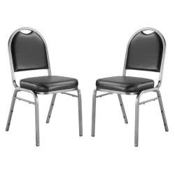 National Public Seating Dome-Back Stacking Chairs, Vinyl, Panther Black/Silvervein, Set Of 2