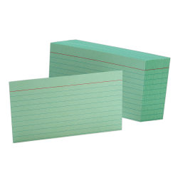"""Oxford® Color Index Cards, Ruled, 3"""" x 5"""", Green, Pack Of 100"""