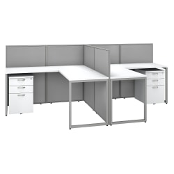 "Bush Business Furniture Easy Office 60"" 2-Person L-Shaped Desk With File Cabinets And 45""H Panels, Pure White/Silver Gray, Premium Installation"