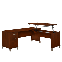 """Bush Furniture Somerset 3 Position Sit to Stand L Shaped Desk, 72""""W, Hansen Cherry, Standard Delivery"""