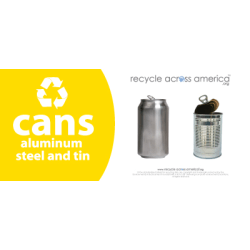 "Recycle Across America Aluminum, METAL-0409, Steel And Tin Cans Standardized Recycling Labels, 4"" x 9"", Yellow"