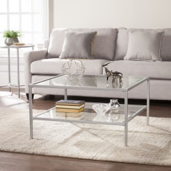 Southern Enterprises Keller Square Metal/Glass Open-Shelf Cocktail Table, Rectangular, Clear/Silver