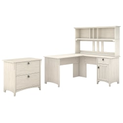 "Bush Furniture Salinas 60""W L Shaped Desk with Hutch and Lateral File Cabinet, Antique White, Standard Delivery"