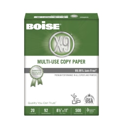 Boise® X-9® Multi-Use Copy Paper, SFI Certified, Letter Paper Size, 92 (U.S.), 20 Lb, Ream Of 500 Sheets