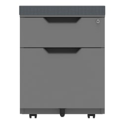 """WorkPro® 21""""D Vertical 2-Drawer Mobile File Cabinet With Seat Cushion, Metal, Gray"""