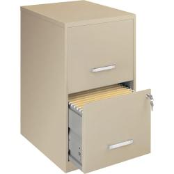 "Lorell® SOHO 18""D Vertical 2-Drawer File Cabinet, Metal, Putty"