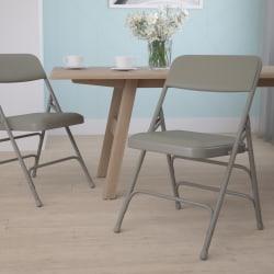 Flash Furniture HERCULES Vinyl Curved Triple-Braced Folding Chair, Gray