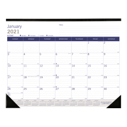 "Blueline® Duraglobe™ Monthly Desk Pad, 22"" x 17"", FSC® Certified, Blue/Grey, January 2021 till December 2021"