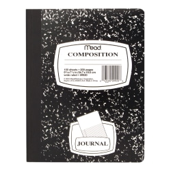 """Mead® Journal Composition Book, 7 1/2"""" x 9 3/4"""", Wide Ruled, 50 Sheets, Black Marble"""