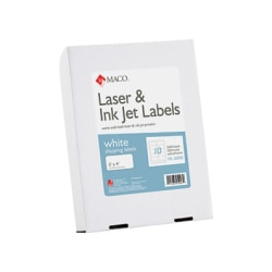 "MACO® White Laser/Ink Jet Shipping Labels, MACML1000B, Permanent Adhesive, 2""W x 4""L, Rectangle, White, 10 Per Sheet, Box Of 2,500"