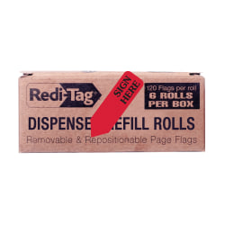 Redi-Tag® Preprinted Signature Flags Refill, SIGN HERE, Red, Box Of 6