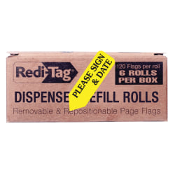 Redi-Tag® Preprinted Signature Flags Refill, PLEASE SIGN & DATE, Yellow, Box Of 6