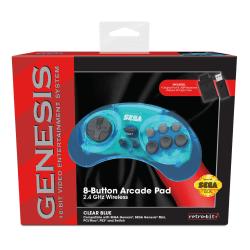 SEGA 8-Button Arcade Pad Wireless Controller For Sega/Nintendo/PlayStation/PC, Clear Blue