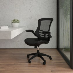 Flash Furniture Bonded LeatherSoft™ Mid-Back Swivel Chair With Flip-Up Arms, Black