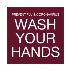 "Custom Hand Washing and Virus Prevention Plastic Engraved Wall Sign, 4"" x 4"""