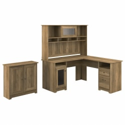 Bush Furniture Cabot L-Shaped Desk With Hutch And Small Storage Cabinet With Doors, Reclaimed Pine, Standard Delivery