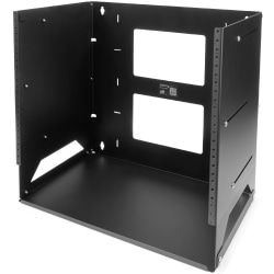 StarTech.com 8U Wallmount Server Rack with Built-in Shelf - Solid Steel - Adjustable Depth 12in to 18in - Mount your server network and telecom devices to the wall while storing your non-rackmountable equipment on the built-in shelf