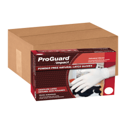 ProGuard Disposable Latex PF General Purpose Gloves - Large Size - Unisex - Latex - Natural - Powder-free, Disposable, Beaded Cuff, Ambidextrous, Comfortable - For Food Handling, Assembling, Manufacturing, General Purpose - 100 / Box