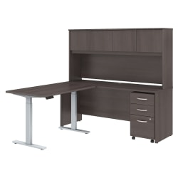 """Bush Business Furniture Studio C 72""""W x 24""""D L Shaped Desk with Hutch, 48""""W Height Adjustable Return and Storage, Storm Gray, Standard Delivery"""