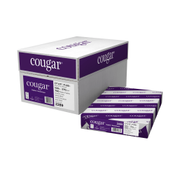 "Cougar® Digital Printing Paper, Ledger Size (11"" x 17""), 98 (U.S.) Brightness, 100 Lb Cover (270 gsm), FSC® Certified, 250 Sheets Per Ream, Case Of 3 Reams"