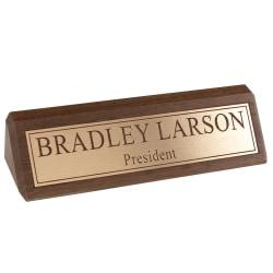 "Custom Engraved Raised Gold Foil On Walnut Desk Bar, 1-3/4"" x 10-1/2"""