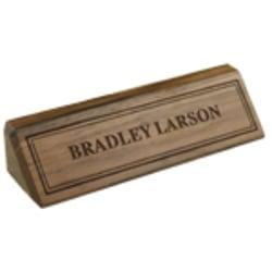"Custom Engraved Inset Letters On Walnut Desk Bar, 1-3/4"" x 10-1/2"""