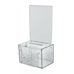 "Azar Displays Plastic Suggestion Box, With Lock, Large, 6 1/4""H x 9""W x 6 1/4""D, Clear"
