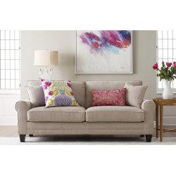 "Serta® Copenhagen Deep-Seating Sofa, 73"", Beige/Espresso"