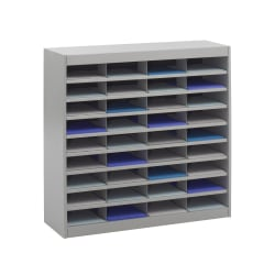 "Safco® E-Z Stor® Steel Literature Organizer, 36 Compartments, 36-1/2""H, Gray"