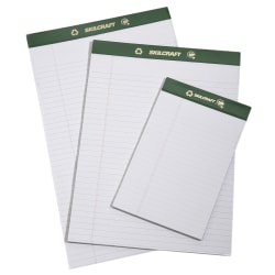"""80% Recycled Chlorine-Free Writing Pads, Junior Size, 5"""" x 8"""", 25 Sheets, Pack Of 12 (AbilityOne 7530-01-516-9629)"""