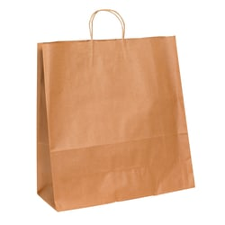 "Partners Brand Paper Shopping Bags, 18 3/4"" x 18""W x 7""D, Kraft, Case Of 200"