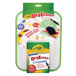 Crayola Dry-Erase Crayons With Board Set, Assorted Colors
