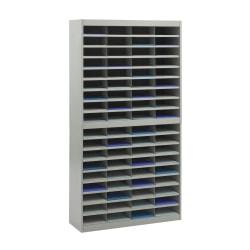 """Safco® E-Z Stor® Steel Literature Organizer, 72 Compartments, 71""""H, Gray"""