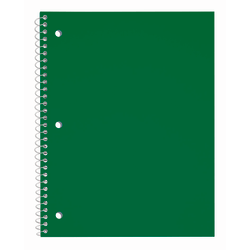 """Just Basics® Poly Spiral Notebook, 8 1/2"""" x 10 1/2"""", College Ruled, 140 Pages (70 Sheets), Green"""