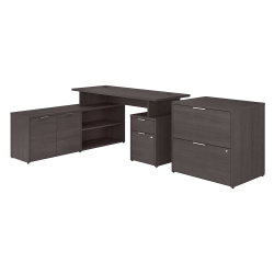 """Bush Business Furniture Jamestown L-Shaped Desk With Drawers And Lateral File Cabinet, 60""""W, Storm Gray, Standard Delivery"""