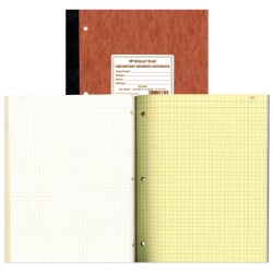 """National® Brand Laboratory Research Notebooks, 9 1/4"""" x 11"""", Quadrille Ruled, 100 Sheets, Brown"""