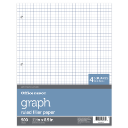 "Office Depot® Brand Quadrille-Ruled Notebook Filler Paper, 8 1/2"" x 11"", White, Pack Of 500 Sheets"