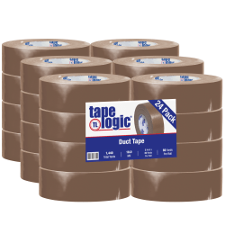 """Tape Logic® Color Duct Tape, 3"""" Core, 2"""" x 180', Brown, Case Of 24"""