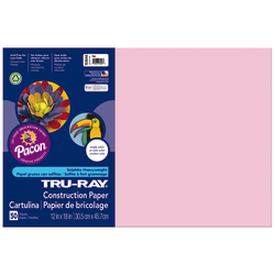 "Tru-Ray® Construction Paper, 50% Recycled, 12"" x 18"", Pink, Pack Of 50"