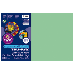 """Tru-Ray® Construction Paper, 50% Recycled, 12"""" x 18"""", Light Green, Pack Of 50"""