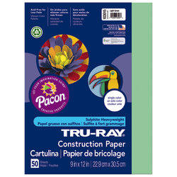"Tru-Ray® Construction Paper, 50% Recycled, 9"" x 12"", Light Green, Pack Of 50"
