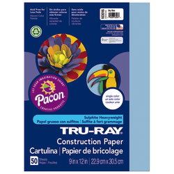 """Tru-Ray® Construction Paper, 50% Recycled, 9"""" x 12"""", Sky Blue, Pack Of 50"""
