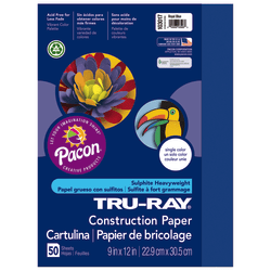 "Tru-Ray® Construction Paper, 50% Recycled, 9"" x 12"", Royal Blue, Pack Of 50"