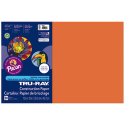 """Tru-Ray® Construction Paper, 50% Recycled, 12"""" x 18"""", Orange, Pack Of 50"""