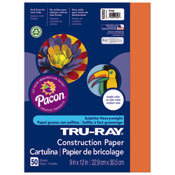 """Tru-Ray® Construction Paper, 50% Recycled, 9"""" x 12"""", Orange, Pack Of 50"""