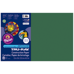 """Tru-Ray® Construction Paper, 50% Recycled, 12"""" x 18"""", Dark Green, Pack Of 50"""